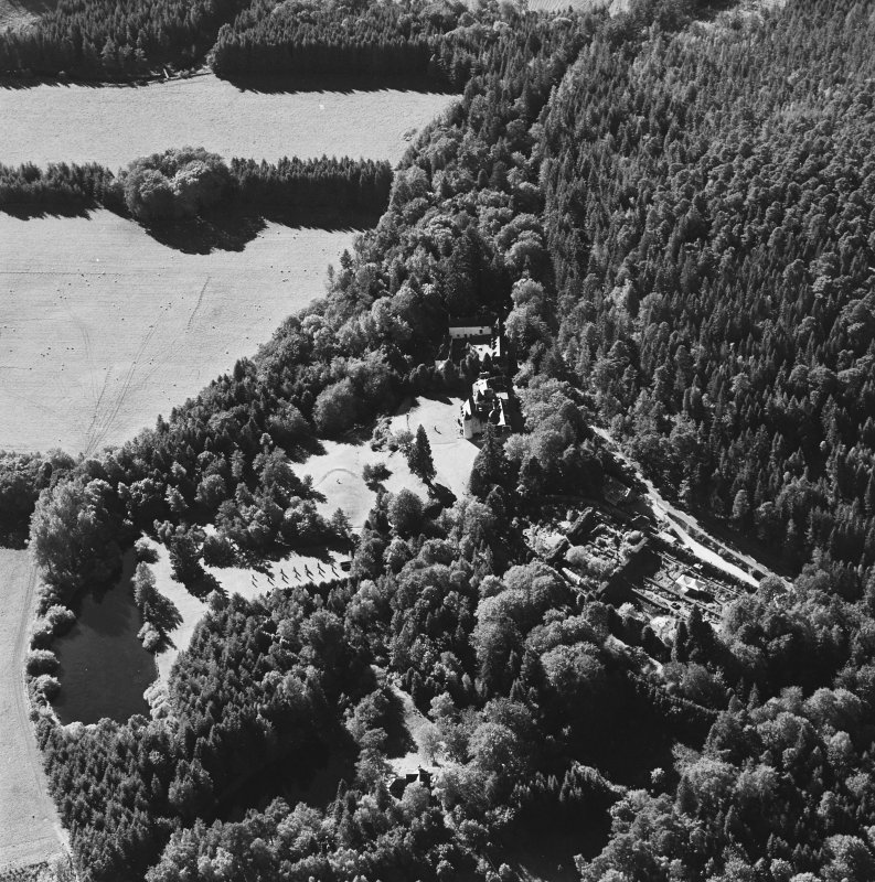 Oblique aerial view of Candacraig House and grounds centred on the country house, taken from the ENE.