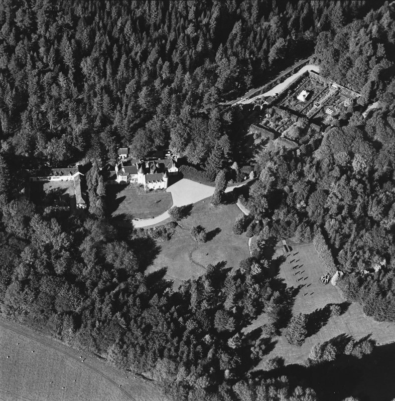 Oblique aerial view of Candacraig House and grounds centred on the country house, taken from the SSE.