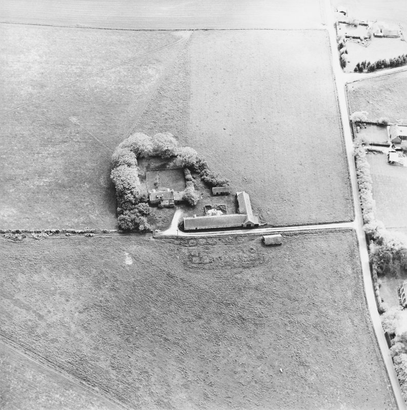 Oblique aerial view of the farmsteading, taken from the N