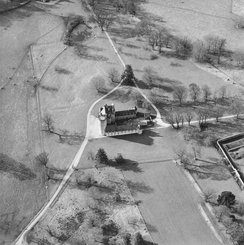 Oblique aerial view of the tower-house, taken from the E.