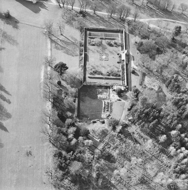 Oblique aerial view of the walled garden, taken from the ENE.