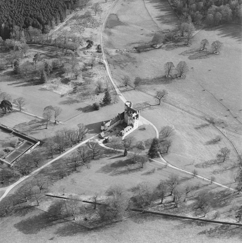 Oblique aerial view of the tower-house, taken from the NW.