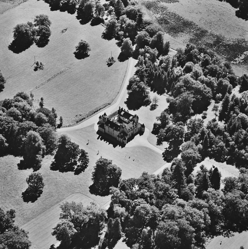 Oblique aerial view of Leith Hall centred on the country house, taken from the NNW.