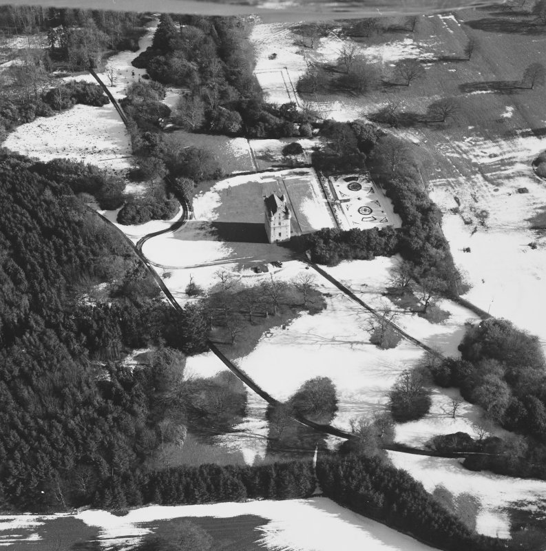Oblique aerial view centred on Udny Castle and gardens taken from the W.