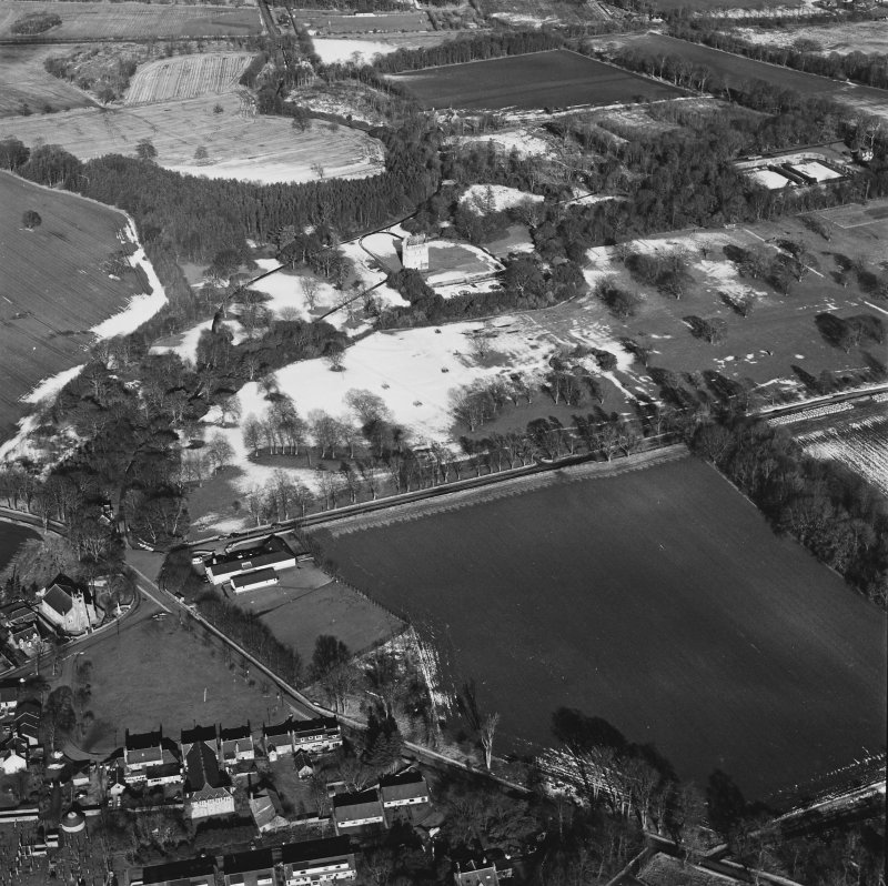 Oblique aerial view centred on Udny Castle and gardens taken from the SSW.