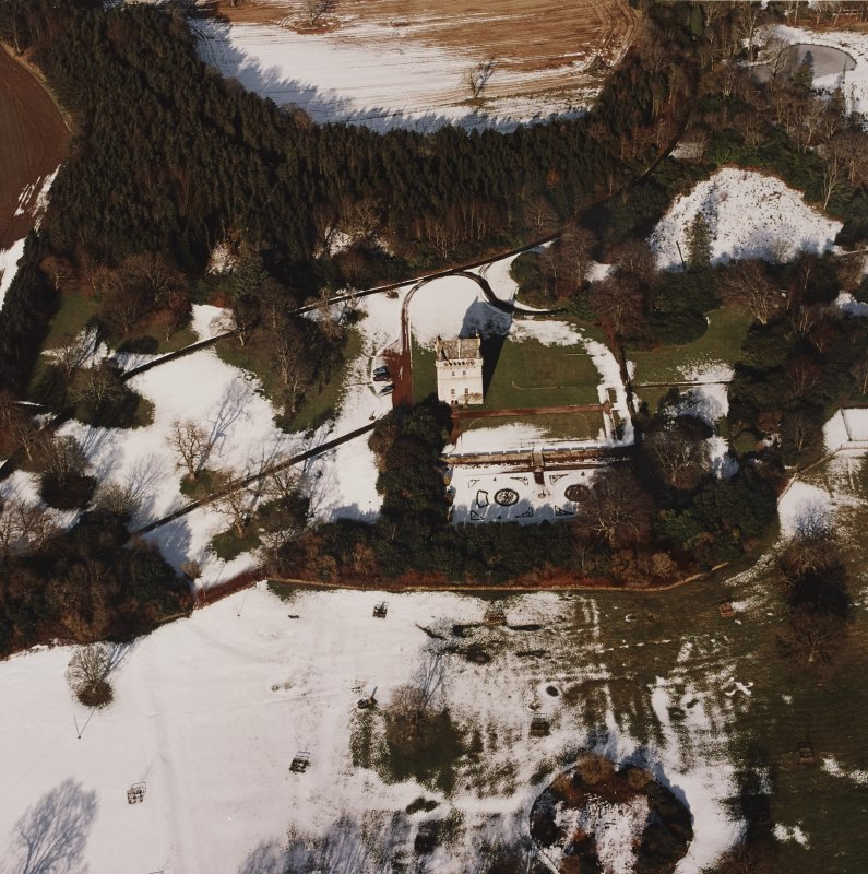 Oblique aerial view centred on Udny Castle and gardens taken from the SSE.