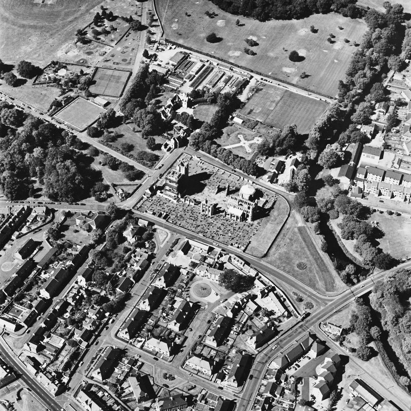 Elgin Cathedral, oblique aerial view, taken from the SE, centred on the Cathedral and the Bishop's House.