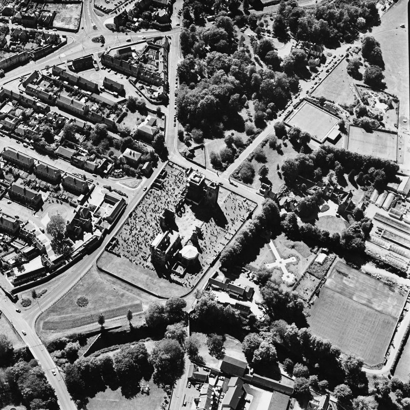 Elgin Cathedral, oblique aerial view, taken from the NE, centred on the Cathedral and the Bishop's House.