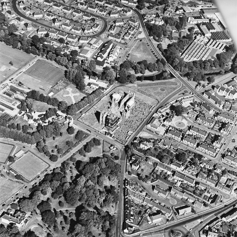 Elgin Cathedral, oblique aerial view, taken from the SW, centred on the Cathedral and the Bishop's House.