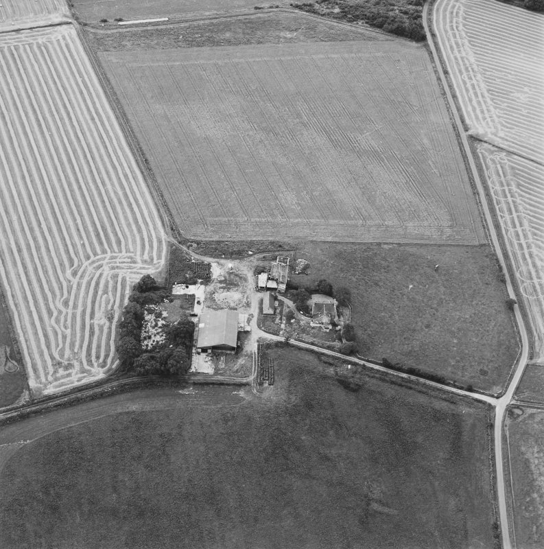 Oblique aerial view of Blervie Castle centred on the remains of a castle or tower-house with attached and adjacent farm buildings, taken from the NE.