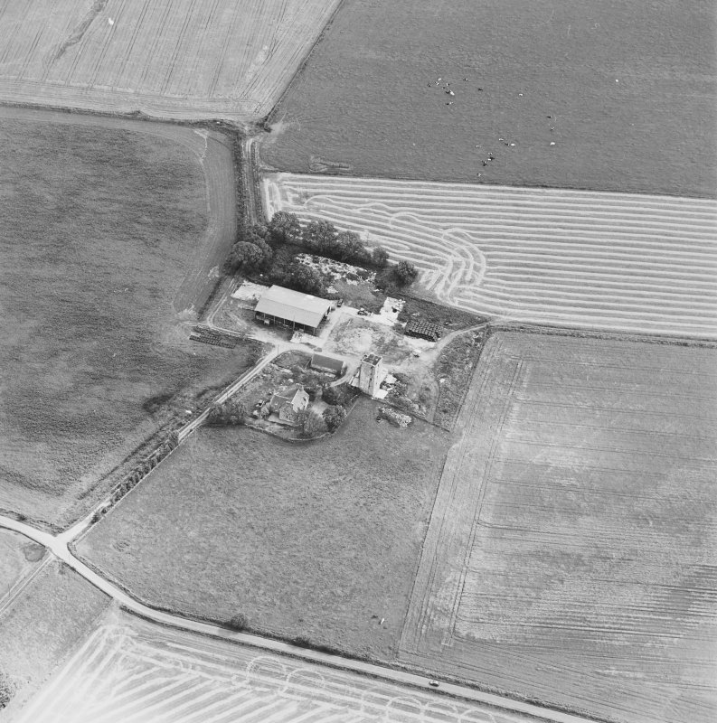 Oblique aerial view of Blervie Castle centred on the remains of a castle or tower-house with attached and adjacent farm buildings, taken from the WNW.
