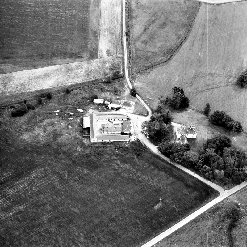 Aerial view of house and farm