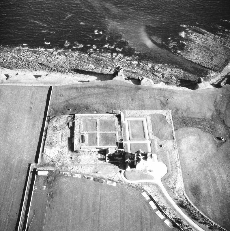 Aerial photograph of old and new castles and nissen huts
