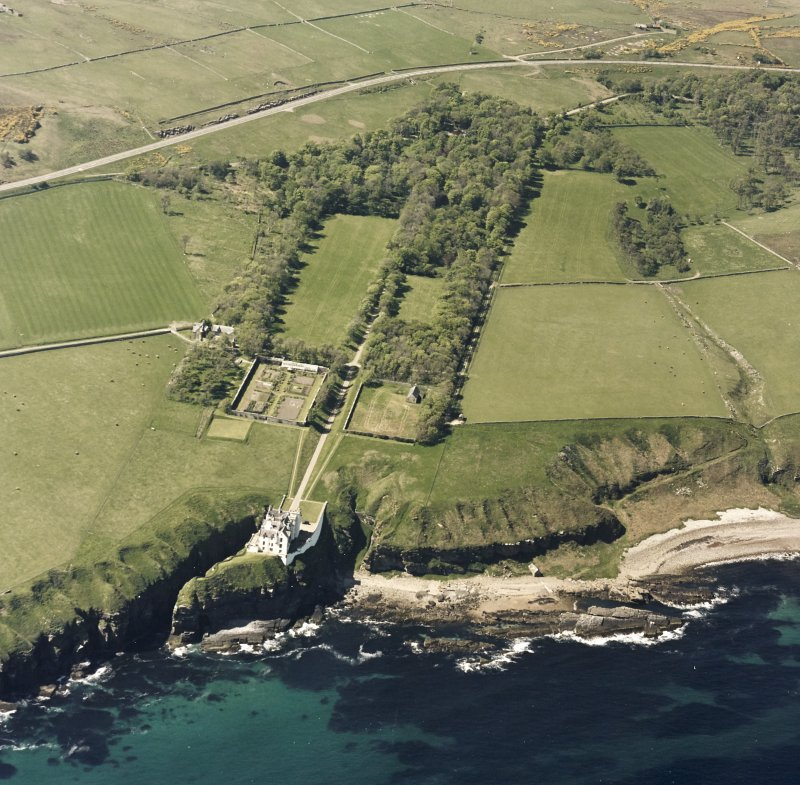 Aerial view of Dunbeath Castle and grounds from E.