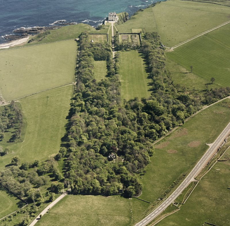 Aerial view of Dunbeath Castle and grounds from NW.