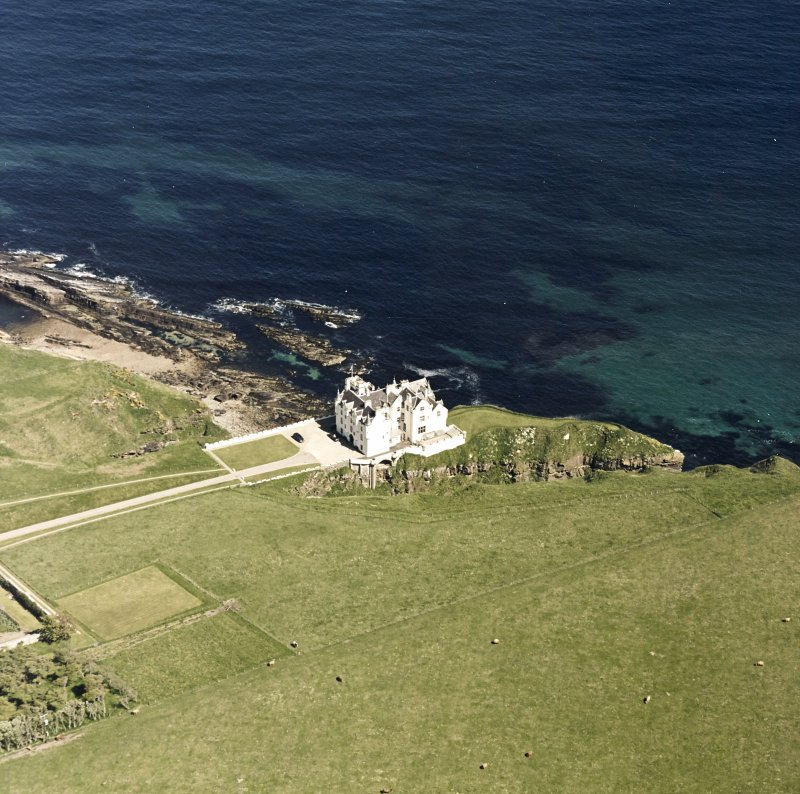 Aerial view of Dunbeath Castle from SW.