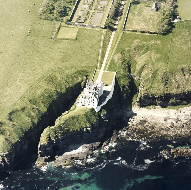 Aerial view of Dunbeath Castle and walled gardens from E.