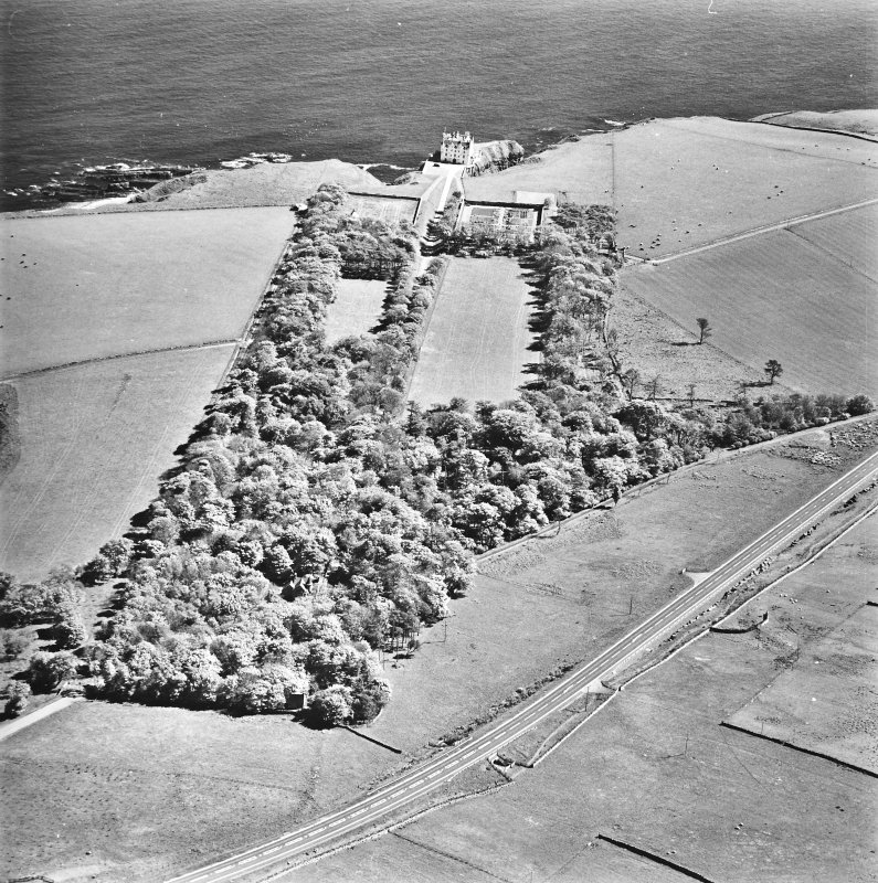 Aerial view of Dunbeath Castle and grounds from the NW.