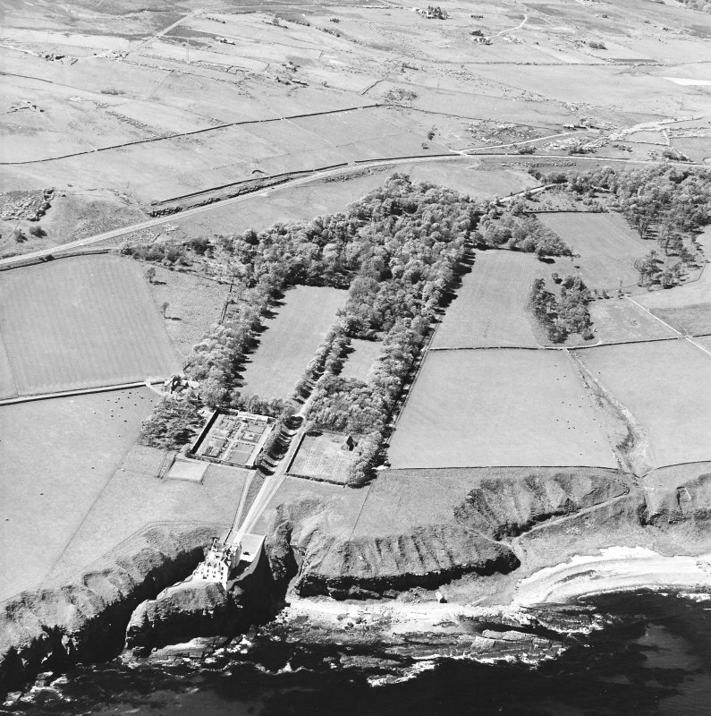 Aerial view of Dunbeath Castle and grounds from SE.