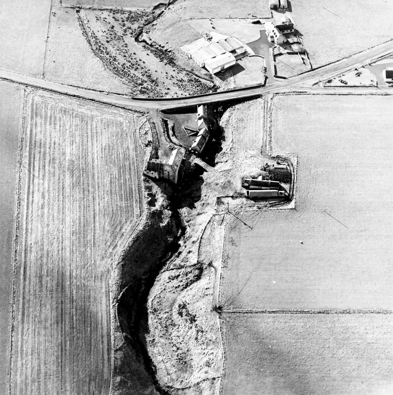 Oblique aerial view of the watermills, bridges, stables and cottage, taken from the N.