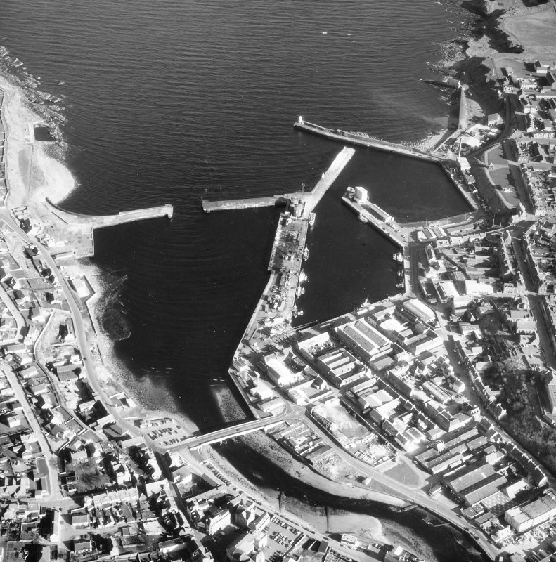 Aerial view of Wick, Pulteneytown, Lower Pulteneytown and the harbours