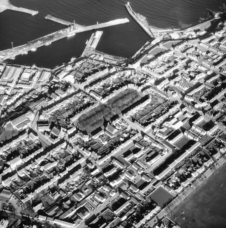 Aerial view of Pulteneytown and inner and outer harbours.