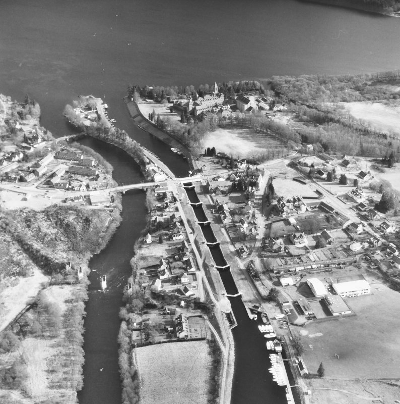 Oblique aerial view of Fort Augustus Locks, village and abbey