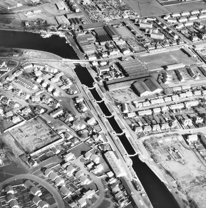 Aerial view of Muirtown Locks, locks and swing bridge