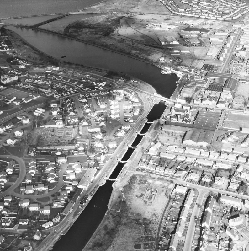 Muirtown Locks, locks and swing bridge. Aerial view.