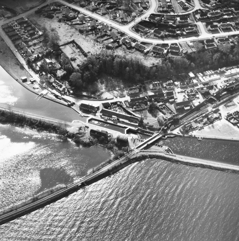 Aerial view showing Clachnaharry Locks, Workshops and Railway Swing Bridge