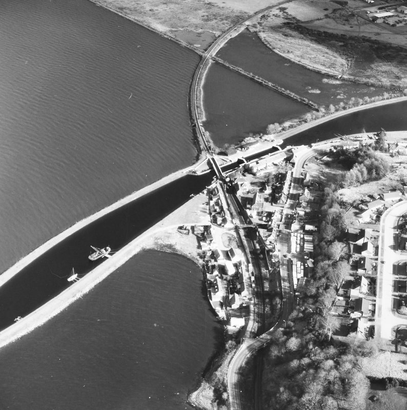 Aerial photograph showing Clachnaharry Sea Lock and Lock Keeper's House