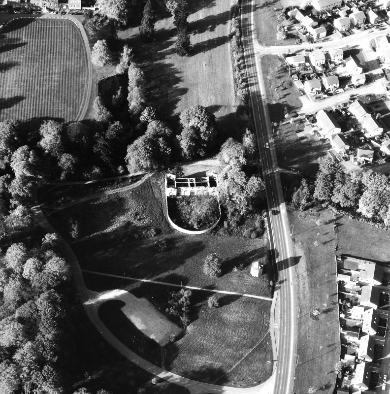 Aerial view showing the stables and dovecot and part of Culloden House
