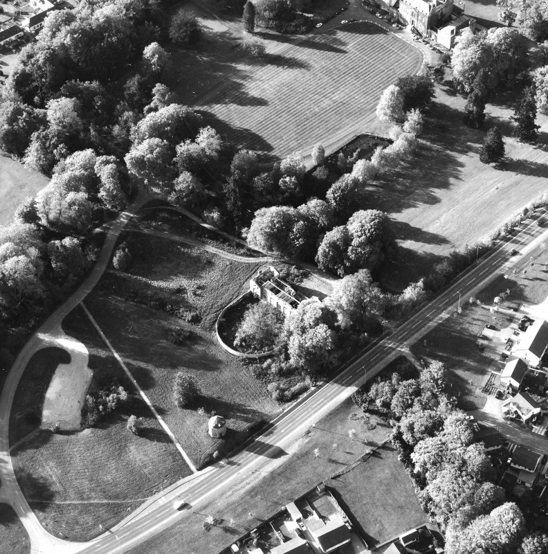 Aerial view showing the stables, dovecot and part of Culloden House