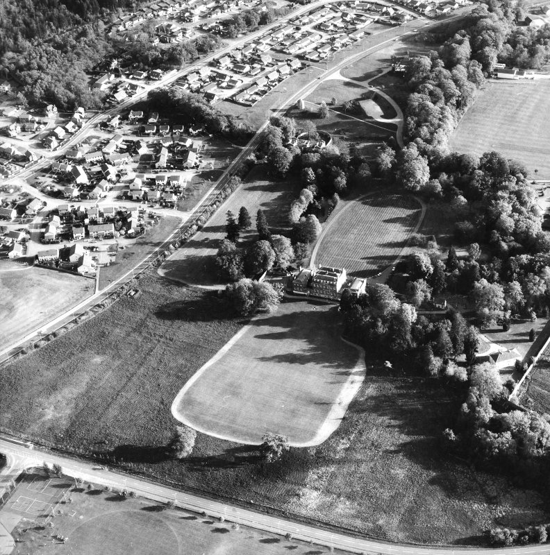 Aerial view of Culloden House, also showing dovecot, stables and Garden Mansion House