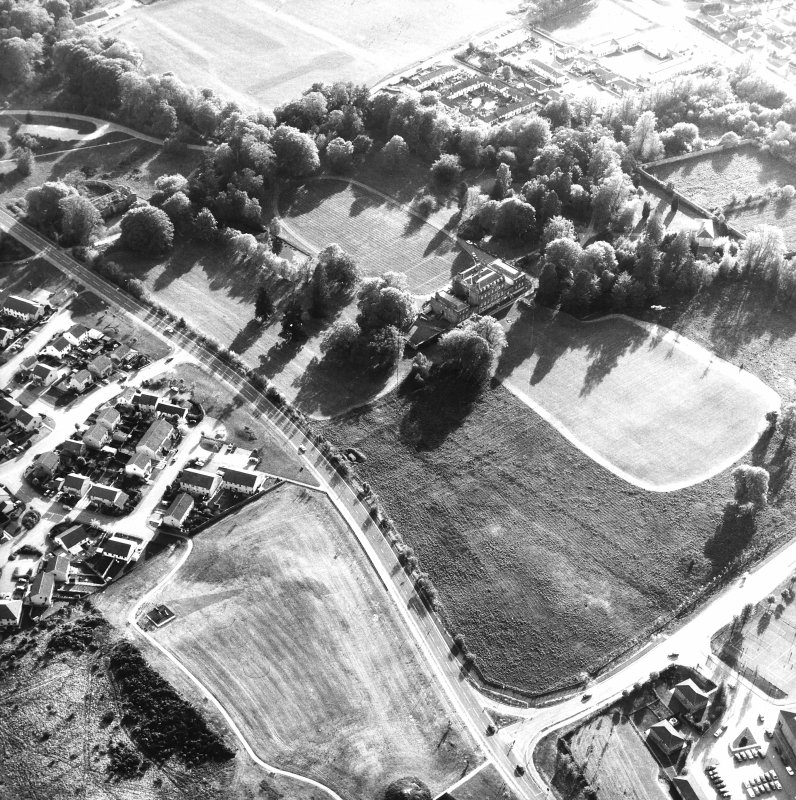 Aerial view of Culloden House, also showing stables, walled garden and Garden Mansion House