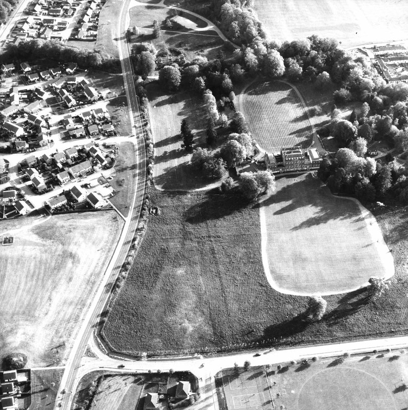 Aerial view of Culloden House, also showing dovecot and stables