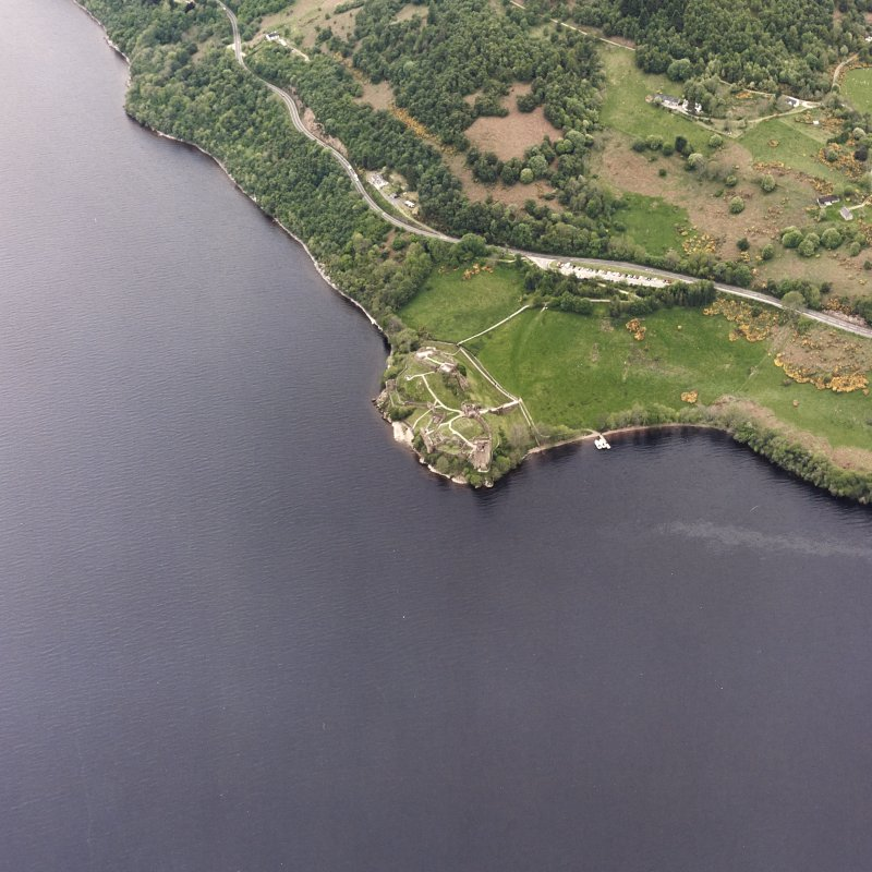 Urquhart Castle, oblique aerial view, taken from the E.