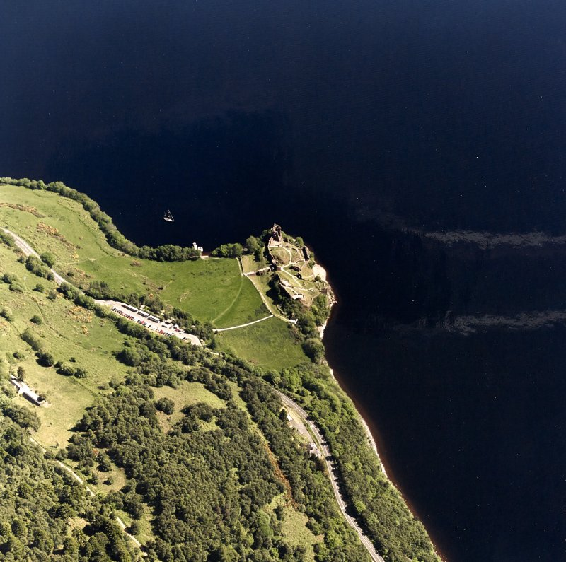 Urquhart Castle, oblique aerial view, taken from the W.