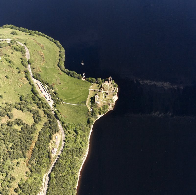 Urquhart Castle, oblique aerial view, taken from the SW.