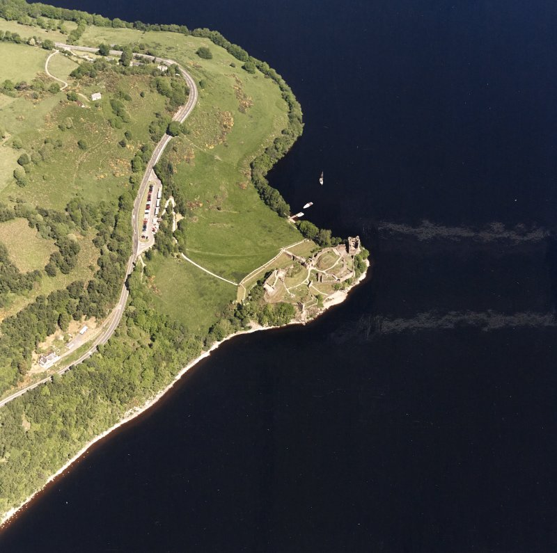 Urquhart Castle, oblique aerial view, taken from the S.