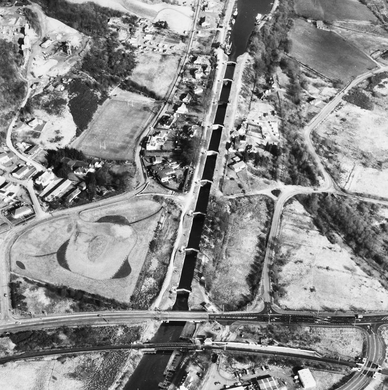 Oblique aerial view of Neptune's Staircase, Banavie Swing Bridge and Banavie Railway Swing Bridge