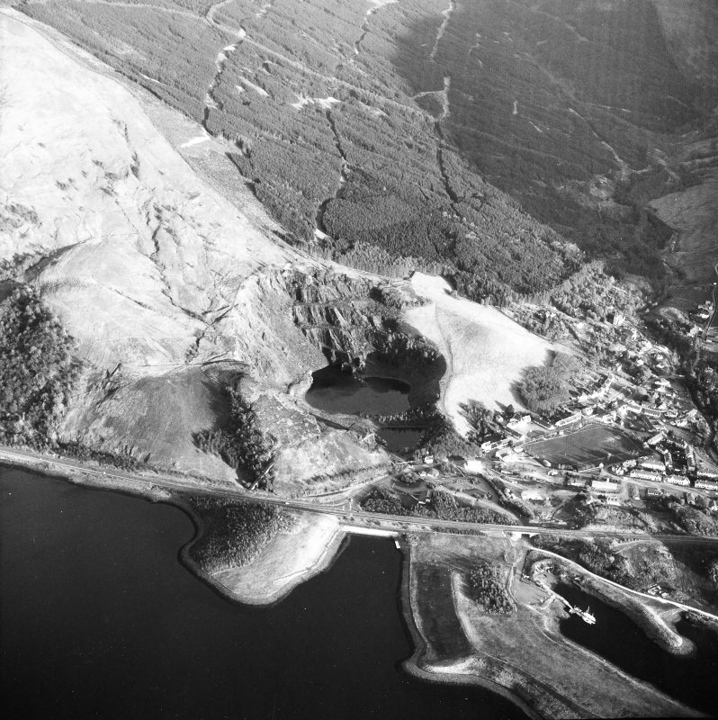 Aerial view of part of Ballachulish village, and of the slate quarries