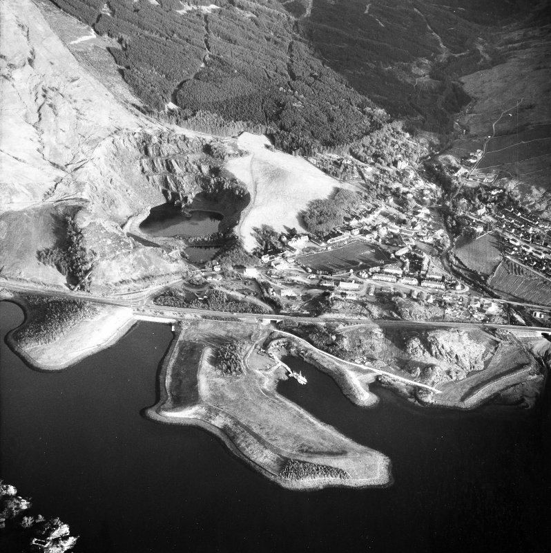 Aerial view of village and slate quarries