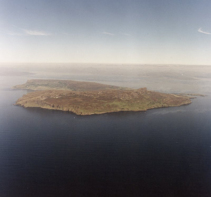 Oblique aerial view of the Isle of Eigg, Small Isles, from SW.