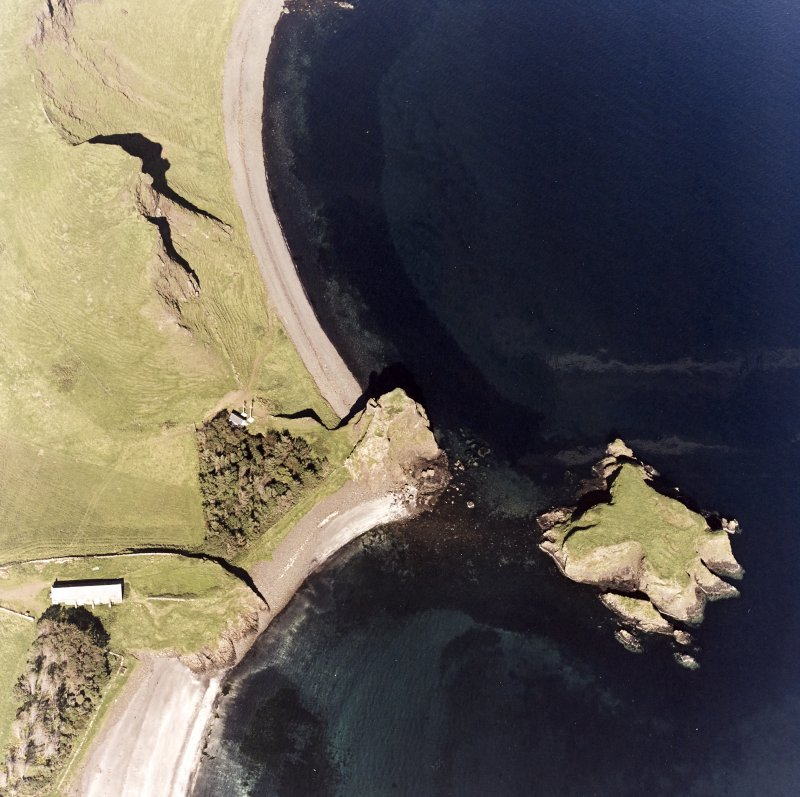 Canna, Coroghan (Coroghon) Castle, Alman and An Coroghan (Coroghon Barn): aerial view of various sites.