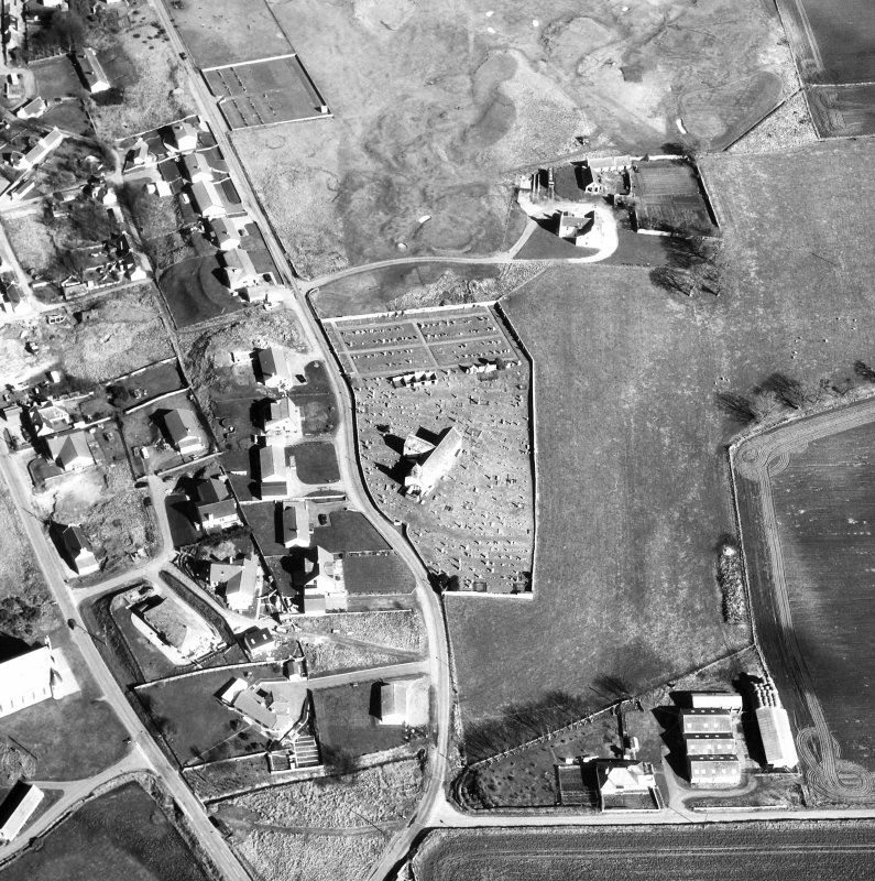 Aerial view of Church and churchyard
