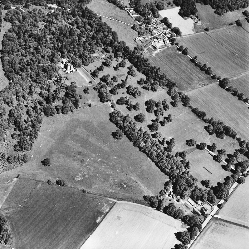 Castle Leod. Oblique aerial view, taken from the SSW, showing the tower-house, a possible golf course and the gate lodge.