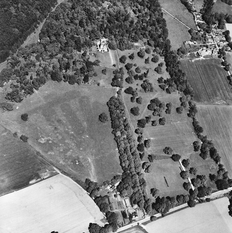 Castle Leod. Oblique aerial view, taken from the SSE, showing the tower-house, a possible golf course and the gatelodge.