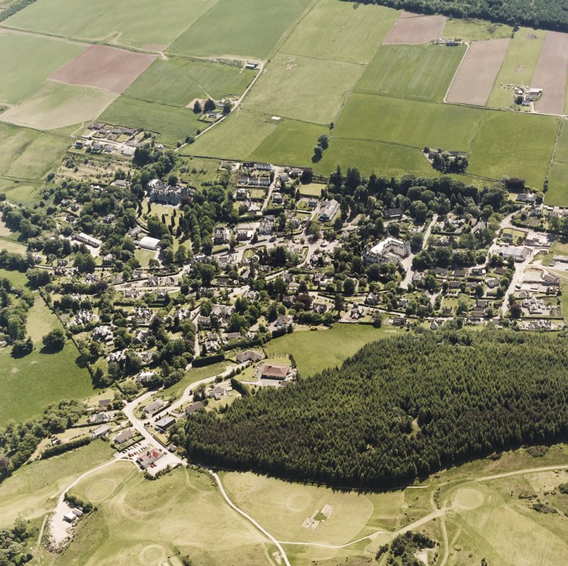 Strathpeffer, oblique aerial view, taken from the NW, showing a general view over Strathpeffer.