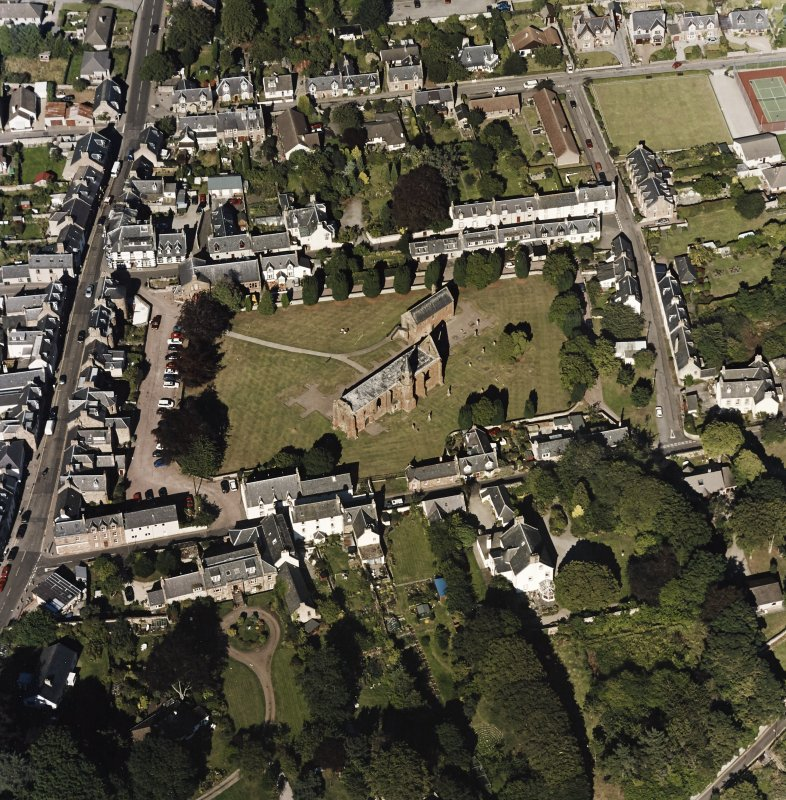 Oblique aerial view of Fortrose centred on the cathedral and court house, taken from the SW.